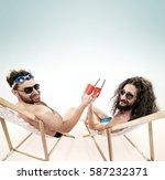 two various guys resting...   Shutterstock . vector #587232371