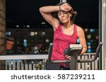healthy fit woman training at...   Shutterstock . vector #587239211