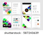 memphis geometric background... | Shutterstock .eps vector #587243639
