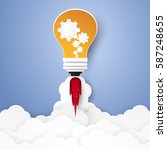 idea concept   bulb rocket... | Shutterstock .eps vector #587248655