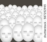 many similar faces in crowd in... | Shutterstock .eps vector #587252945