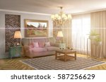 interior with sofa. 3d... | Shutterstock . vector #587256629