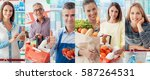 smiling people at the store ... | Shutterstock . vector #587264531
