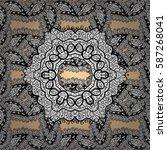 damask white abstract flower... | Shutterstock .eps vector #587268041