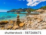 idyllic seascape beach in camp... | Shutterstock . vector #587268671