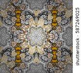 vector golden floral ornament... | Shutterstock .eps vector #587269025