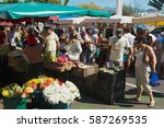 Small photo of SAINT-DENIS DE LA REUNION, FRANCE - DECEMBER 04, 2010: Unidentified people do shopping at the market in Saint-Denis De La Reunion, France.