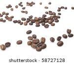 coffee beans scattered ... | Shutterstock . vector #58727128