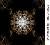 gold black floral ornament in... | Shutterstock .eps vector #587272529