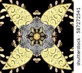 damask golden floral pattern on ... | Shutterstock .eps vector #587272541