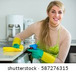 portrait of cheerful blonde... | Shutterstock . vector #587276315