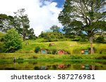 Hobbiton - landscape New Zealand, the place, where hobbits live in their holes