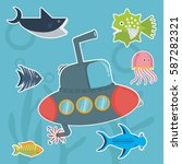 submarine with fish cartoon... | Shutterstock .eps vector #587282321