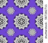 golden floral seamless pattern. ... | Shutterstock .eps vector #587282711