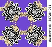 ornamental lace tracery. golden ... | Shutterstock .eps vector #587284031