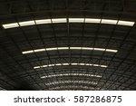 steel structure roof of factory   Shutterstock . vector #587286875