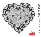 black lace heart  greeting card ... | Shutterstock .eps vector #587295845