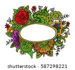 hand drawn frame with flowers... | Shutterstock .eps vector #587298221