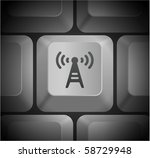 radio tower icon on computer... | Shutterstock .eps vector #58729948
