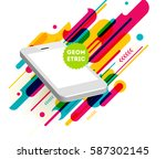 mobile phone icon with trendy... | Shutterstock .eps vector #587302145