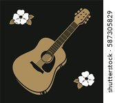 hipster acoustic guitar with... | Shutterstock .eps vector #587305829