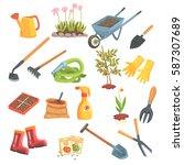 gardeners equipment set of... | Shutterstock .eps vector #587307689