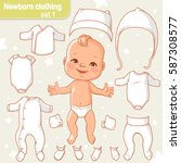 cute  little baby in diaper as ... | Shutterstock .eps vector #587308577