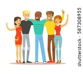 young friends from all around... | Shutterstock .eps vector #587308955