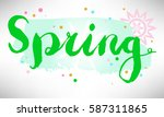hand drawn spring card with... | Shutterstock .eps vector #587311865