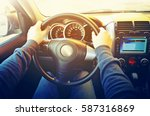 drive car  hands on the... | Shutterstock . vector #587316869