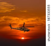"""Small photo of Helicopters """"Mi-28 Havoc"""" at warm sunset"""