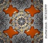 vector golden floral ornament... | Shutterstock .eps vector #587333999