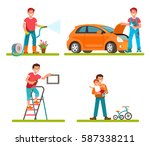 vector illustration of father... | Shutterstock .eps vector #587338211