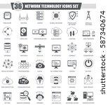 network technology black icons ... | Shutterstock . vector #587340674