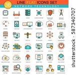 network technology flat line... | Shutterstock . vector #587340707