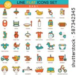 baby flat line icon set.... | Shutterstock . vector #587342345