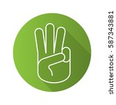 three fingers up flat linear... | Shutterstock .eps vector #587343881