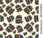 cake with berries  vector... | Shutterstock .eps vector #587346845