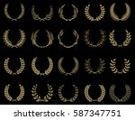set of wreaths icons in golden... | Shutterstock .eps vector #587347751