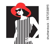 young fashion woman in a... | Shutterstock .eps vector #587353895