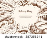 bakery product draw background. ... | Shutterstock .eps vector #587358341