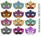 venice mask carnival vector art   Shutterstock .eps vector #587372579
