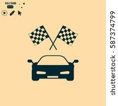 car and finishing flag | Shutterstock .eps vector #587374799