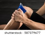 close up of a person applying... | Shutterstock . vector #587379677