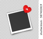 realistic square photo frame... | Shutterstock .eps vector #587402819