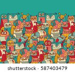birds crowd color owls and... | Shutterstock . vector #587403479