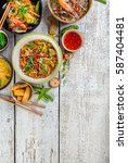 asian food served on white... | Shutterstock . vector #587404481