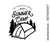 camping badge vector... | Shutterstock .eps vector #587405057