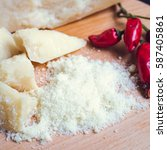 grated parmesan cheese with... | Shutterstock . vector #587405861