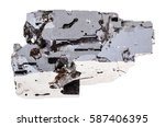 Small photo of macro shooting of geological collection mineral - sample of Galena stone (lead glance, Lead ore and Silver source) isolated on white background
